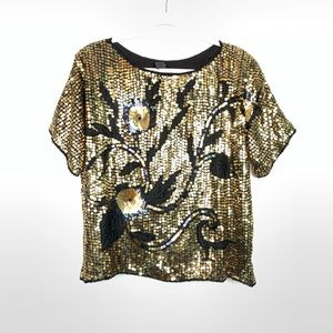 Vintage 80s Black Gold Flower Sequin Top